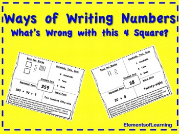 Ways of Writing Numbers What's Wrong with this 4 Square?