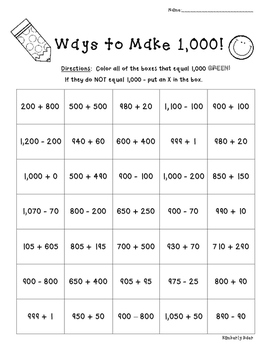 Ways to Make 1,000!!  Number Sense Practice Worksheet