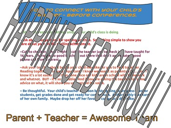Ways to connect with your child's teacher BEFORE conferences