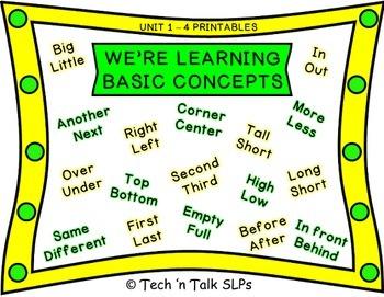 We're Learning Basic Concepts: Bundle - Printables (Units 1 - 4)