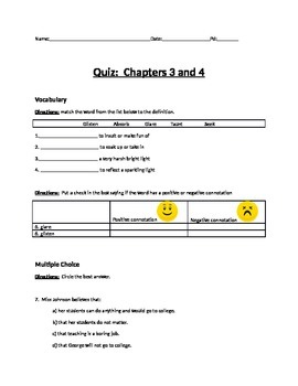 We Beat the Street - Quiz for Chapter 3 and 4
