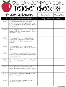 We Can Common Core Teacher Checklists