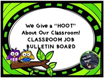 Job Bulletin Board for Back-to-School: Owl-Themed
