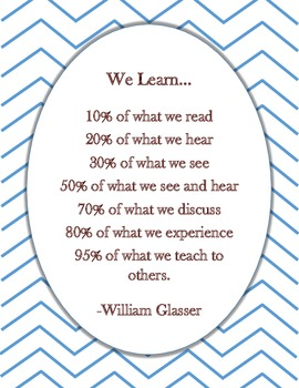 """""""We Learn..."""" Poster with Chevron background"""