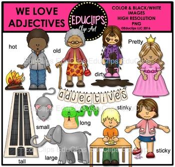 We Love Adjectives Clip Art