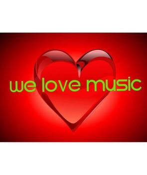 We Love Music Heart Poster-Light Green Letters
