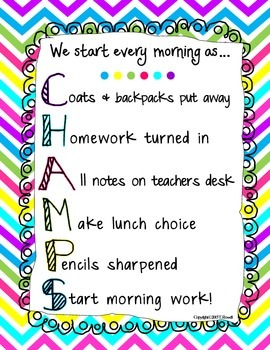 We Start Every Morning as Champs Bright Colors Chevron Print