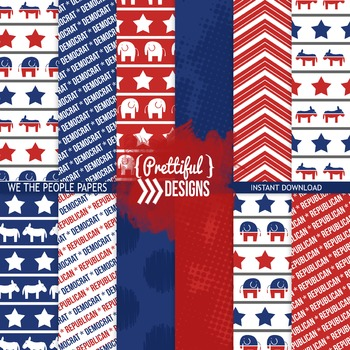 We The People Digital Paper Republican Democrat Scrapbook