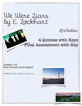 We Were Liars E. Lockhart Assessment Pack