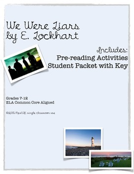 We Were Liars E. Lockhart Student Packet Only