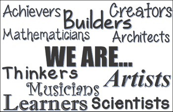 """We are"" classroom poster in black and white"