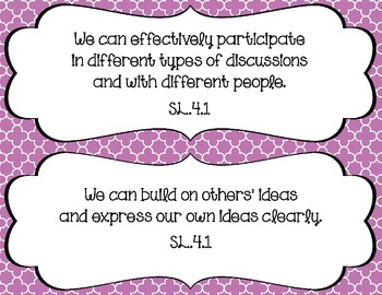 We can statements-- 4th grade Speaking/Listening Common Co
