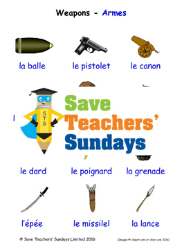 Weapons in French Worksheets, Games, Activities and Flash Cards