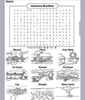 Severe Weather Word Search/ Extreme Weather Worksheet