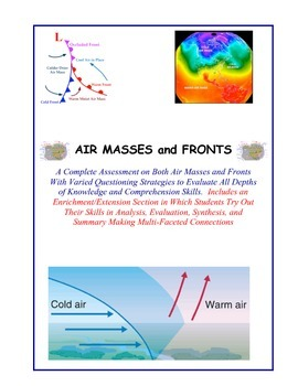 Weather:  Air Masses and Fronts Worksheets/Test - 87 Ques.