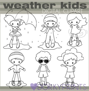 Weather Blackline Clipart with Kids