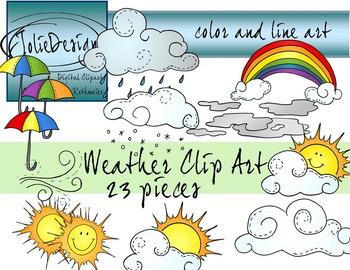 Weather Clip Art - Color and Line Art 23 pc set