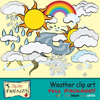 Weather Clip Art Rainbow, Clouds, Tornado and Hurricane, R