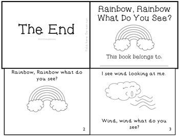 "Weather Emergent Reader Mini-Book ""Rainbow, Rainbow What D"