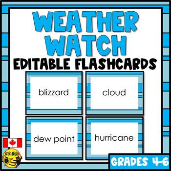 Weather Flashcards (Metric)- Editable