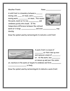 Printables Weather Fronts Worksheet weather fronts worksheet by annette hoover teachers pay worksheet