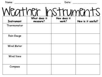 Weather Instruments Graphic Organizer