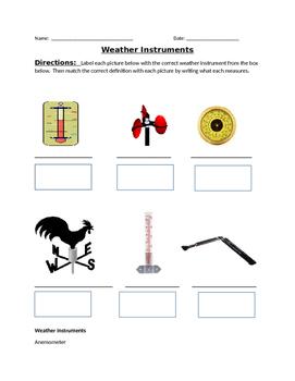 Weather Instruments/Weather Tools Quiz Activity