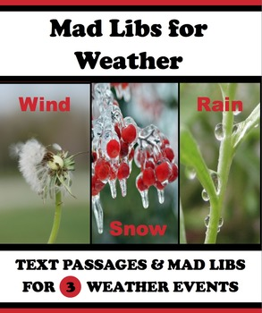 Weather Mad Libs: Closed Text Reading, Myths, Folktales, P