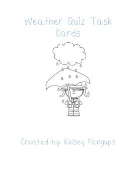 Weather Quiz Task Cards (Utah Core 4th Grade)