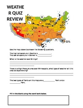 Weather Review Packet (Weather Maps, Fronts, Precipitation, etc.)