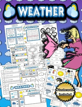 Weather Themed Activity Set / Worksheets + Flashcards