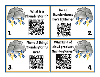 Weather - Thunderstorms QR Task Cards