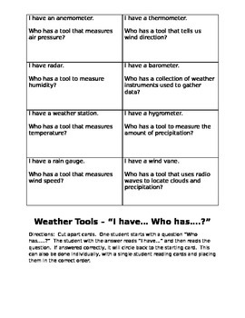 """Weather Tool """"I have... Who has...?"""" Review Activity"""
