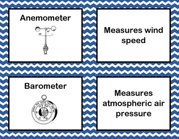 Weather Tools Flash Cards