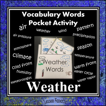 Weather Vocabulary Pocket Activity with Definition and Wor