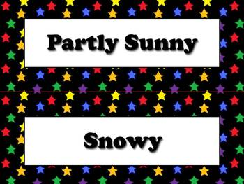 Weather Vocabulary Strips for Calendar - Superstars Theme