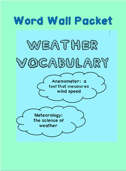 Weather Vocabulary - Word Wall Words