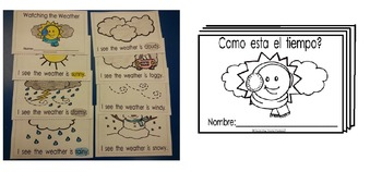 Weather Watching coloring reading booklets Eng. and Spanis