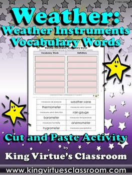 Weather: Weather Instruments Vocabulary Words Cut and Past