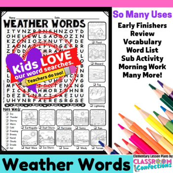 Weather Word Search Activity: Weather Scenes and Words