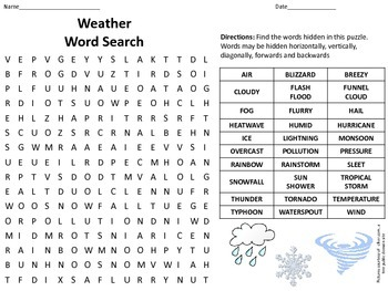Weather Word Search with Answer Key
