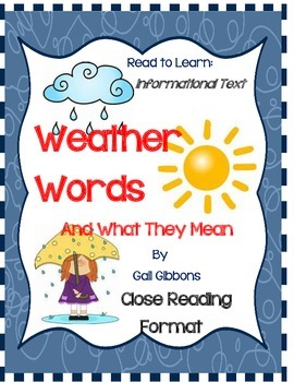 Weather Words by Gail Gibbons - Book Response Journal -Clo