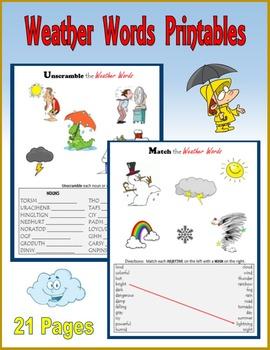 Weather Words Printables