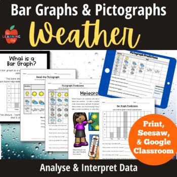 Weather Worksheets: pictographs, bar graphs, forecasting,