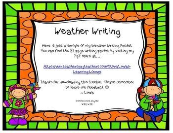 Weather Writing  ~ Common Core Aligned (FREEBIE)