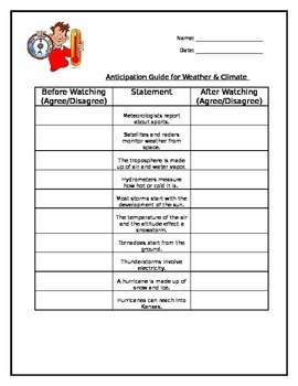 Weather and Climate Anticipation Guide