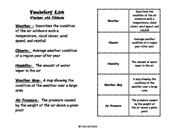 Weather and Climate Vocab Pack