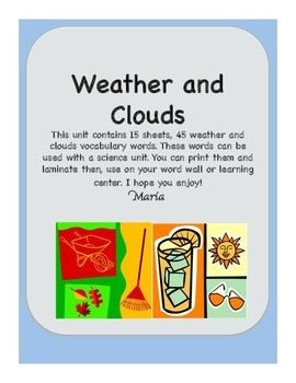 Weather and Clouds Vocabulary Word Wall Cards Science
