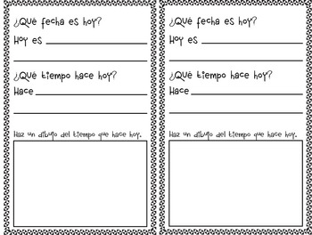 Weather and Date Worksheet in Spanish