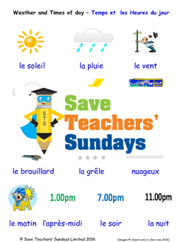 Weather and Times in French Worksheets, Games, Activities